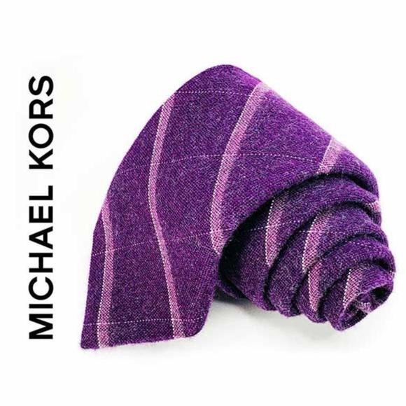 Michael Kors Tie 100% Silk Purple Striped